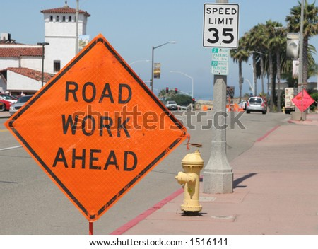Road work ahead. - stock photo