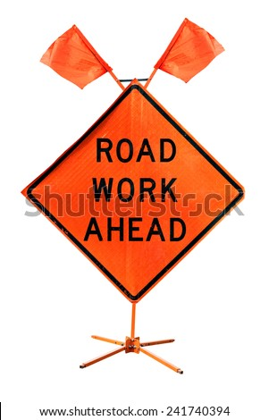 Road Work Ahead - American road sign isolated on white background - stock photo
