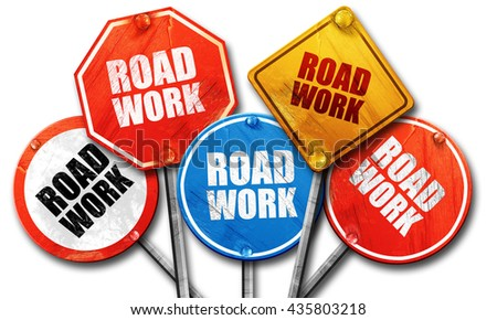road work, 3D rendering, rough street sign collection - stock photo