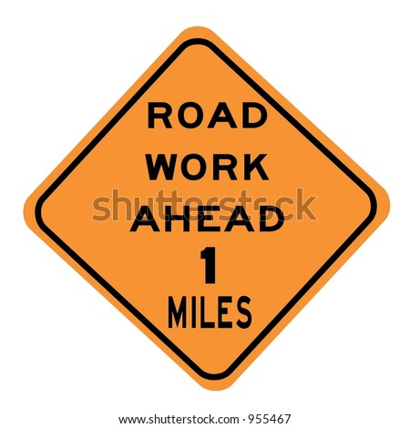 Road work 1 mile ahead sign isolated on a white background - stock photo