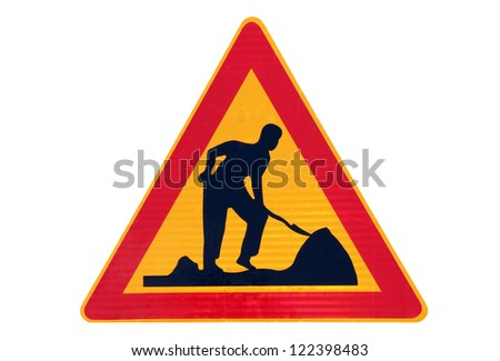 Road work traffic sign isolated over white.