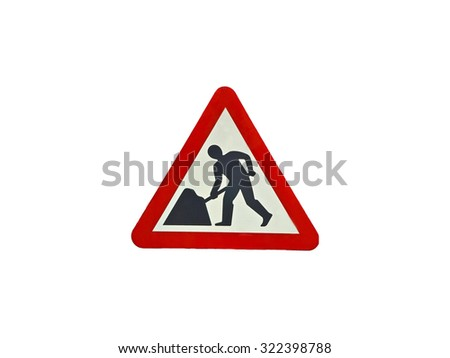 Road work traffic sign isolated over white - stock photo
