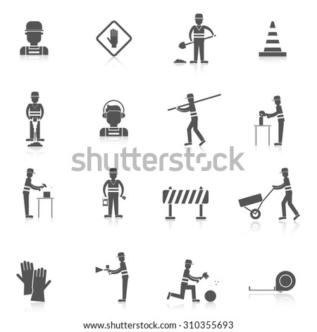 Road worker black icons set with warning under construction sign isolated  illustration