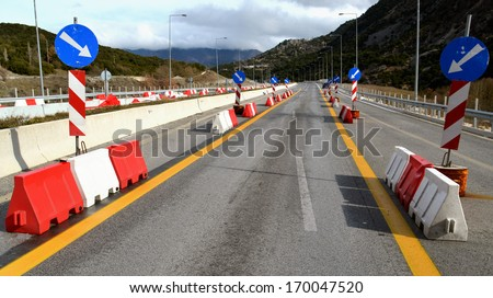 road works - signs - safe driving - stock photo