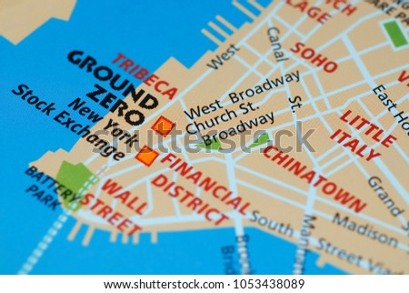 Roads On Map Around Manhattan Island Stock Photo Royalty Free - Manhattan island map