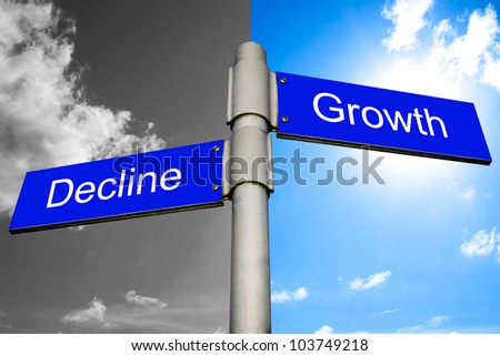 roads signs showing the ways to decline and growth