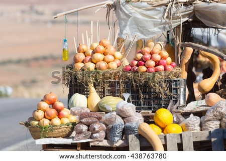 Roadside fruit and vegetable market in Morocco - stock photo