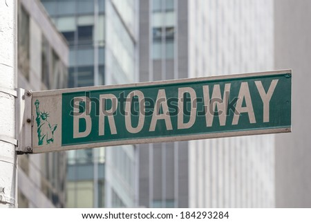 Roadsign of Manhattans famous Broadway with blurred background - stock photo