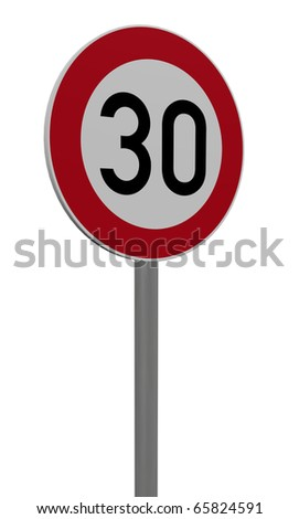 roadsign speed limit thirty on white background - 3d illustration