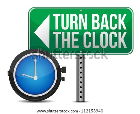 roadsign with a turn back the clock concept - stock photo