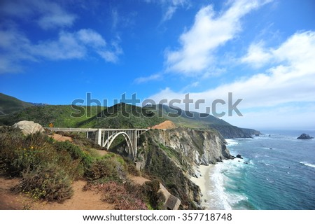 Roadtrip from Los Angeles to San Francisco on the Pacific Coast Highway! One of the most amazing trips ever! Bixby Creek Bridge in Big Sur! - stock photo