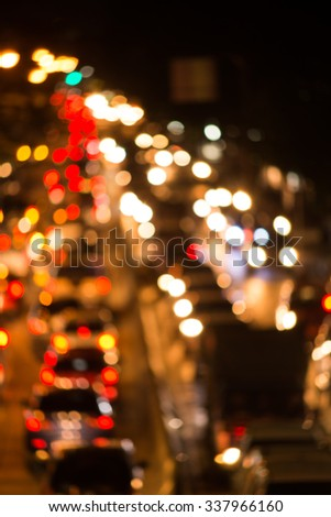 roadway and traffic jam blurred. - stock photo