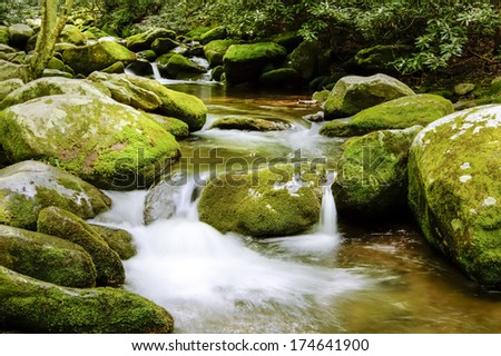 Roaring Fork is a stream in the Great Smoky Mountains of Tennessee.  This river has moss covered rocks with the thick green forest that is tranquil and relaxing. - stock photo