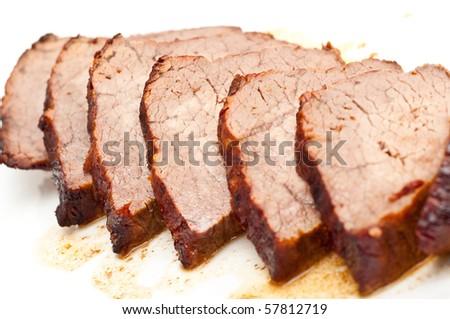 roast beef isolated on white - stock photo