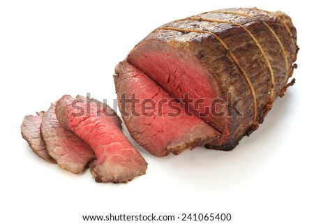 roast beef isolated on white background - stock photo