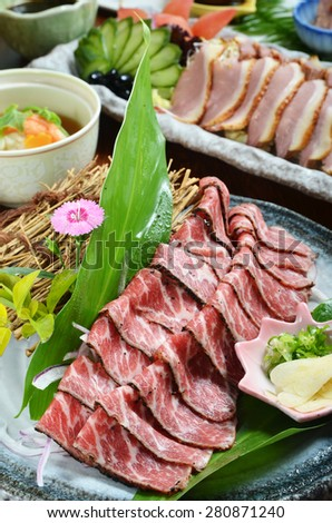 Roast beef on a plate - stock photo
