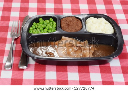 roast beef tv dinner - stock photo