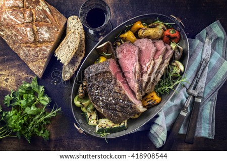 Roast Beef with Vegetable and Farmhouse Bread - stock photo