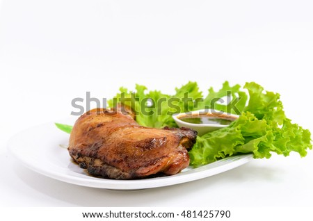 Roast chicken and rice on dish in white background