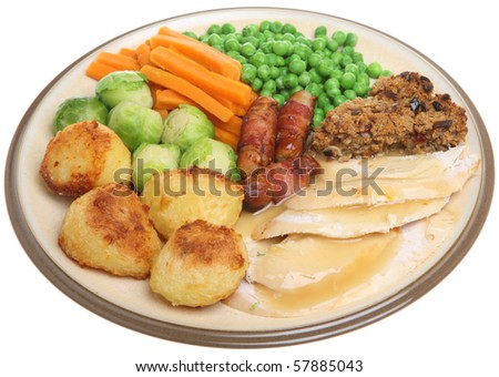 Roast chicken dinner - stock photo