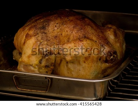 Roast chicken on grill for day of Thanksgiving  - stock photo