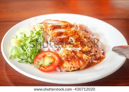 Roast chicken sauce with rice - stock photo