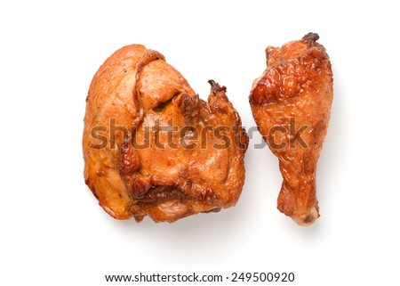 roast chicken thigh and drumstick - stock photo