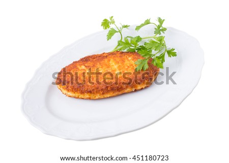 Roast corn pie with melted cheese. Isolated on a white background.
