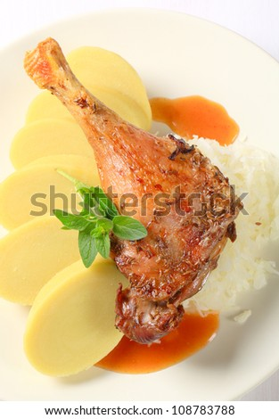 Roast duck with sauerkraut and potato dumplings - stock photo