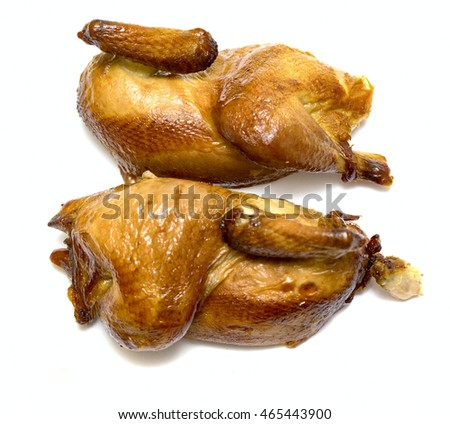 Roast grilled chicken on white background