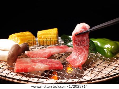 Roast meat called Yakiniku - stock photo
