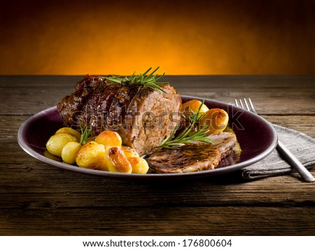 roast of veal with potatoes