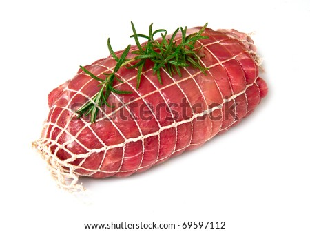 roast of veal  with rosemary - stock photo