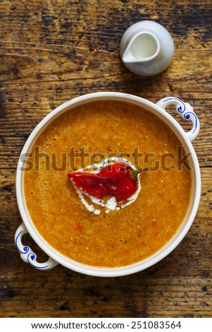 Roast pepper soup - stock photo