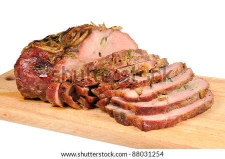 Roast pork on a wooden board. Isolated on white. - stock photo