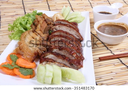 Roast pork , Roasted duck , Chinese style