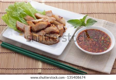 Roast pork Thai style - stock photo