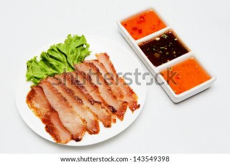 Roast pork thai style food - stock photo