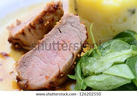 roast pork with mashed potatoes - stock photo