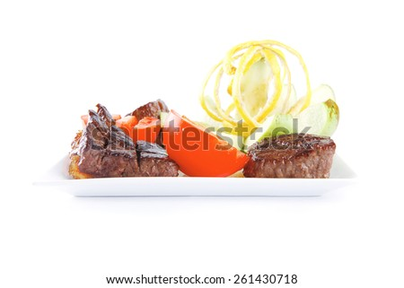 roast red beef meat served on white - stock photo