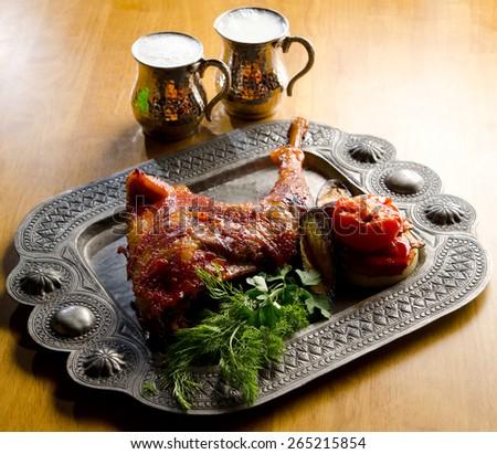 roast turkey dinner with seasonal vegetables - stock photo