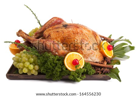 Roast Turkey on a white background. - stock photo