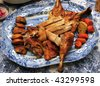 Roast turkey on holiday dinner - stock photo