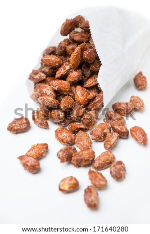 roasted almonds on white background - stock photo