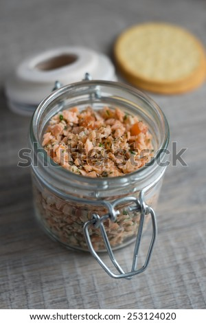 Roasted and smoked salmon and soft cheese spread with dill and butter served with cheese crackers, selective focus - stock photo