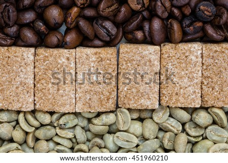 roasted and unroasted coffee with brown sugar cubes