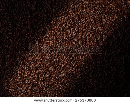 Roasted arabica coffee beans abstract artistic background texture - stock photo