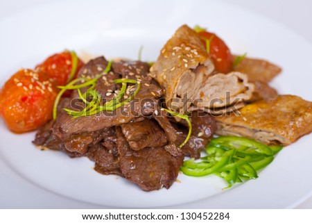 roasted beef with vegetables on a plate