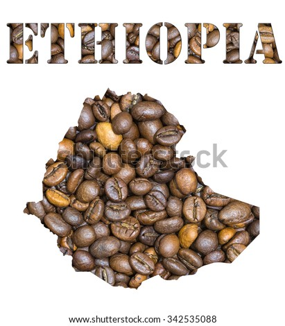 Roasted brown coffee beans background with the shape of the word Ethiopia and the country geographical map outline. Image isolated on a white background. - stock photo