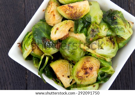 Roasted brussels sprouts with bacon - stock photo